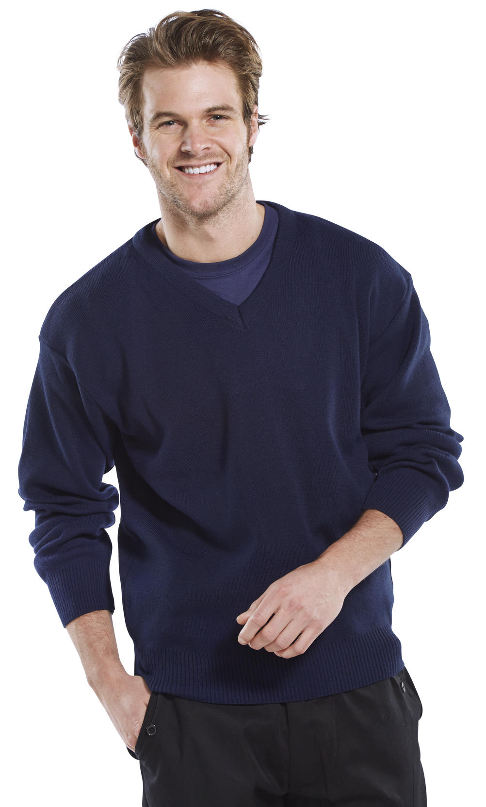CLICK ACRYLIC V-NECK SWEATER - ACSV