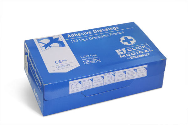 BLUE DETECTABLE PLASTERS 120 ASSORTED - CFABDP120
