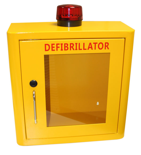 DEFIBRILLATOR MILD STEEL CABINET INTERNAL YELLOW - CM1218
