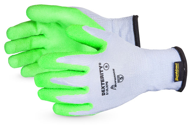 DEXTERITY® 10-GAUGE COTTON/POLY KNIT GLOVE WITH HI-VIZ LATEX PALM LINED WITH PUNKBAN - SUS10LXPB